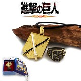Attack on Titan Training Corps anime ring+necklace