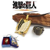 Attack on Titan Recon Corps anime ring+necklace