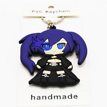 Black rock shooter PVC two-sided key chain