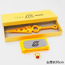 Naruto cos yellow headband+gold ring+gold weapon a...