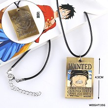 One Piece Zoro wanted anime necklace
