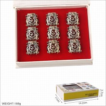 Harry Potter movie rings set(9pcs a set)