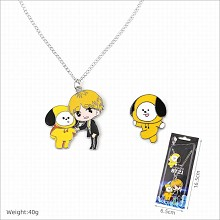 BTS star necklace+pin a set