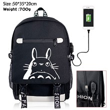 Totoro anime USB charging laptop backpack school b...