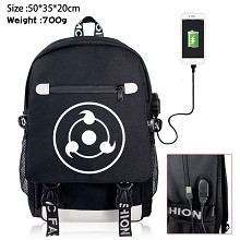 Naruto anime USB charging laptop backpack school b...