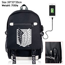 Attack on Titan anime USB charging laptop backpack school bag