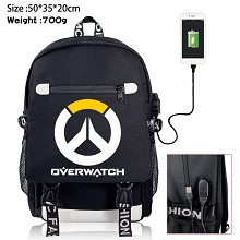 Overwatch game USB charging laptop backpack school...