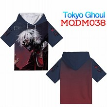 Tokyo ghoul anime short sleeve hoodie t-shirt clot...